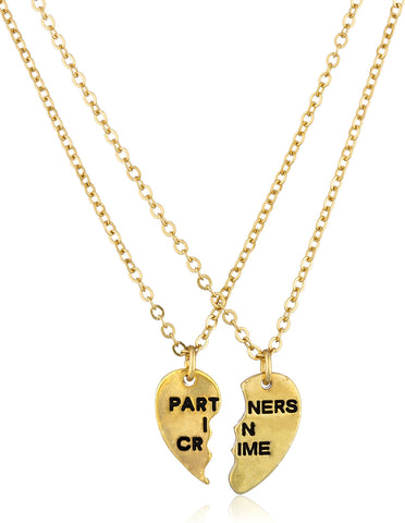 "Goldtone ""Partners In Crime"" Best Friend 18 Inch Adjustable Necklaces"