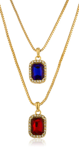 "Goldtone Pave Blue And Simulated Ruby Pendant Set With Separate 24"" And 30"" Box Chain Necklaces"