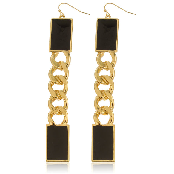 Goldtone Plate With Black Cuban Style Drop Earrings