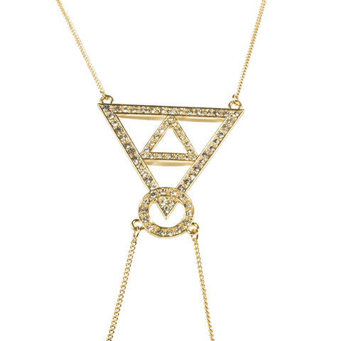 Goldtone Pyramid Design Adjustable Body Chain With Dangling Cuban Links
