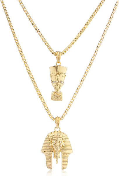Goldtone Queen Nefertiti And King Tut Pharaoh Micro Pendants Layered 24-30 Inch Box Necklace Set