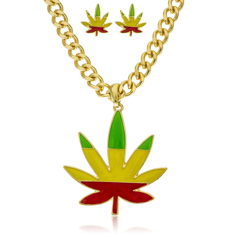 Goldtone Rasta Marijuana Pendant With An 18 Inch Cuban Chain Necklace With Matching Stud Earrings