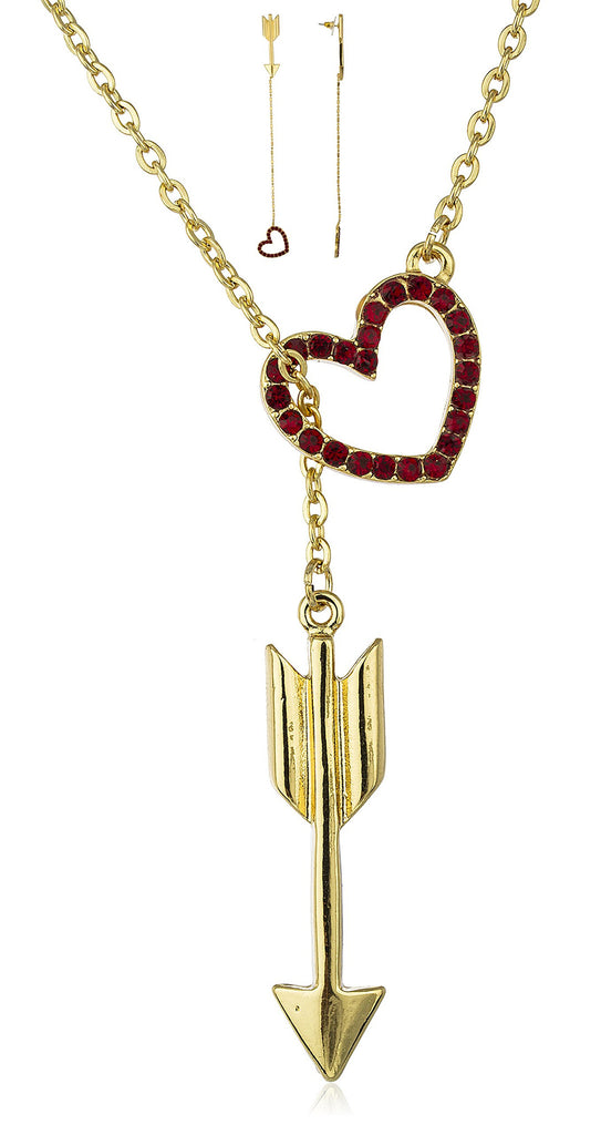 Goldtone Red Heart And Arrow 18...