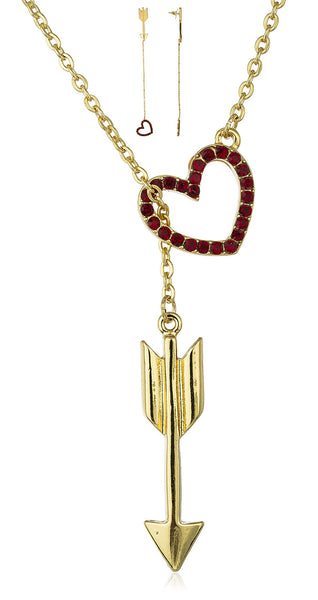 Goldtone Red Heart And Arrow 18 Inch Link Chain Necklace And Matching Earring Jewelry Set