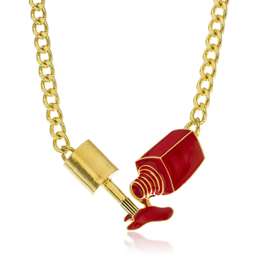 Goldtone Red Nail Polish Pendant With...