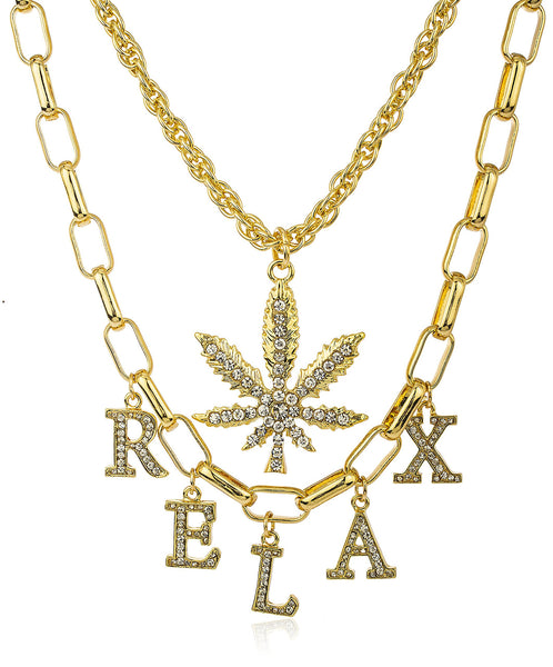"Goldtone ""Relax"" And Marijuana Leaf With Clear Stones Layered Wheat And Link Adjustable Necklace"