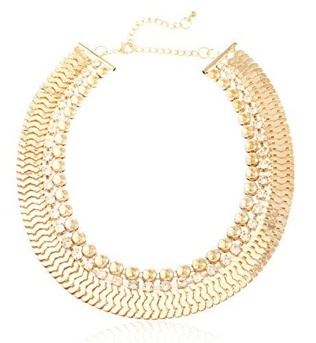 Goldtone Round, Clear Stone, And Linked Necklace