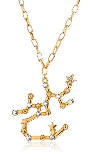 Goldtone Sagittarius Sign Pendant With 27 Inch Link Chain Necklace