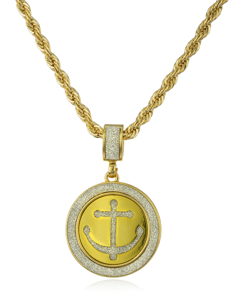 Goldtone Sandblast Anchor Micro Pendant With...