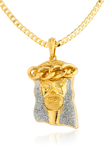 Goldtone Sandblast Jesus Crown Pendant With A 24 Inch 4mm Cuban Chain