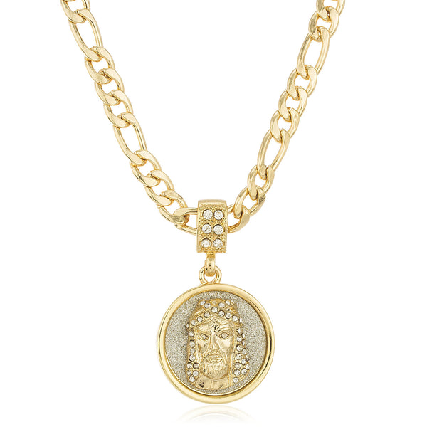 Goldtone Sandblast Jesus Face Micro Pendant With Clear Stones And A 24 Inch Figaro Necklace