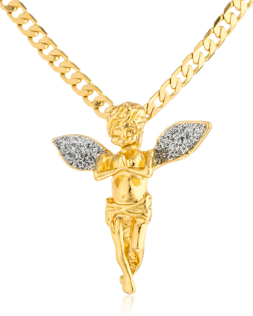 Goldtone Sandblast Long Wings Angel Pendant...