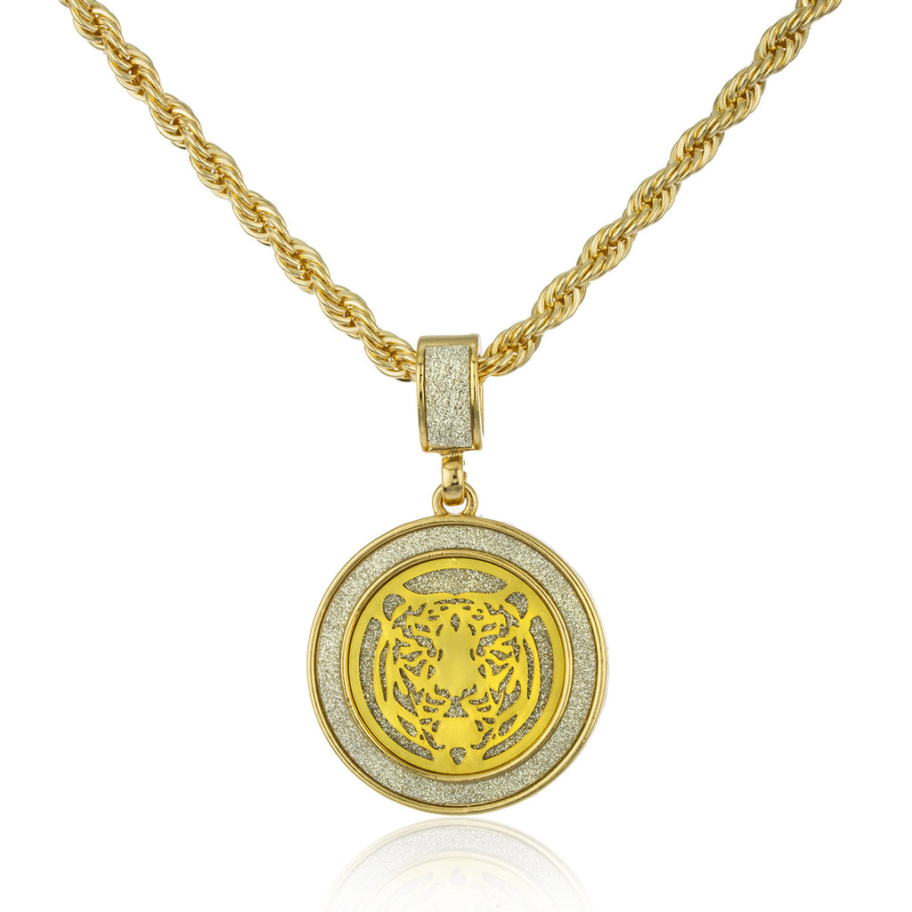 Goldtone Sandblast Tiger Micro Pendant With...