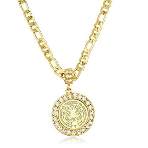 Goldtone Sandblast Tiger Micro Pendant With Clear Stones And A 24 Inch Figaro Necklace