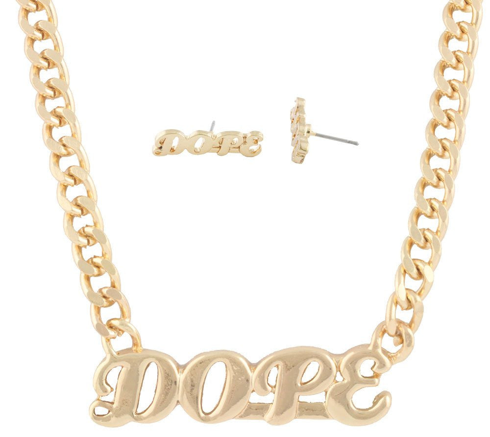 Goldtone Script Dope Pendant With An...