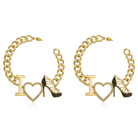 "Goldtone Script ""I Love Shoes"" Black With Crystals Cuban Linked 3 Inch Open Hoop Earrings"