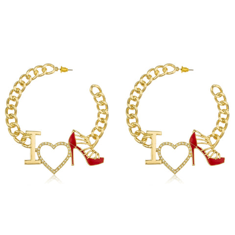 "Goldtone Script ""I Love Shoes"" Red With Crystals Cuban Linked 3 Inch Open Hoop Earrings"