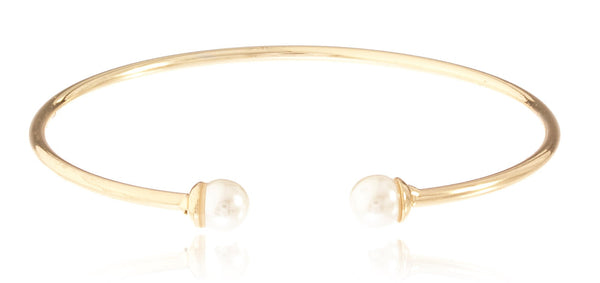 Goldtone Semi-Precious Ball Ended Arm Cuff (Cream)