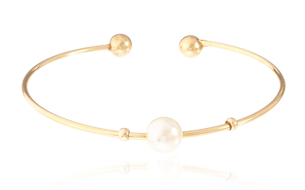 Goldtone Semi-Precious Ball Ended Arm Cuff...