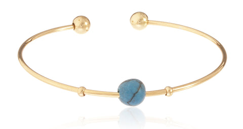 Goldtone Semi-Precious Ball Ended Arm Cuff With Centered Simulated Pearl (Turquoise)