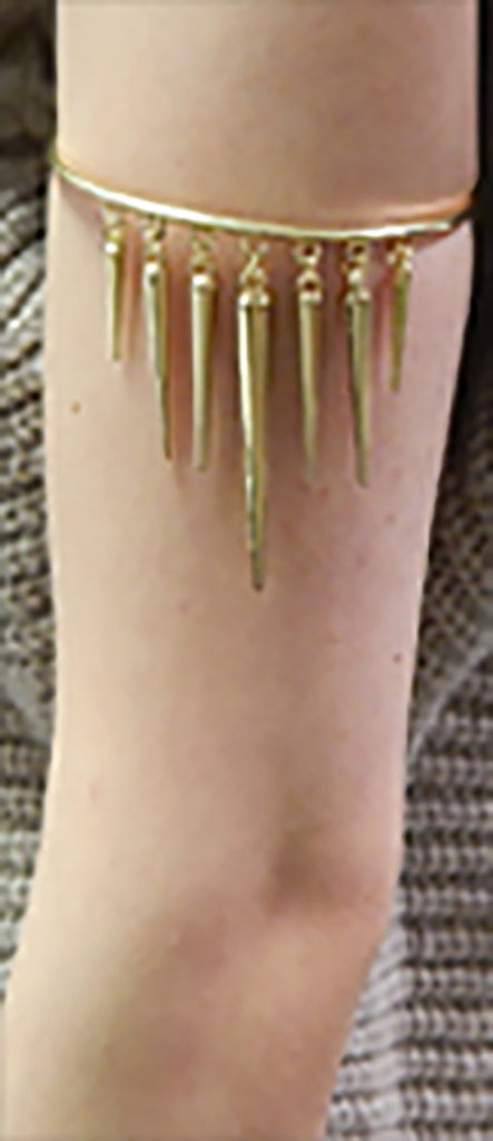 Goldtone Simple Arm Cuff With Dangling...