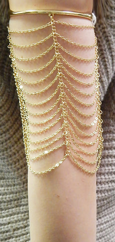 Goldtone Simple Bar With Multiple Rows Of Tassels Arm Cuff