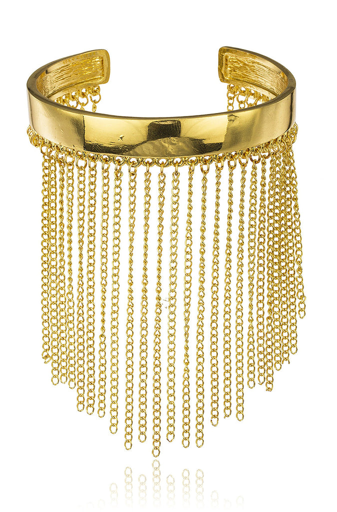 Goldtone Simple Bar With Multiple Tassels...