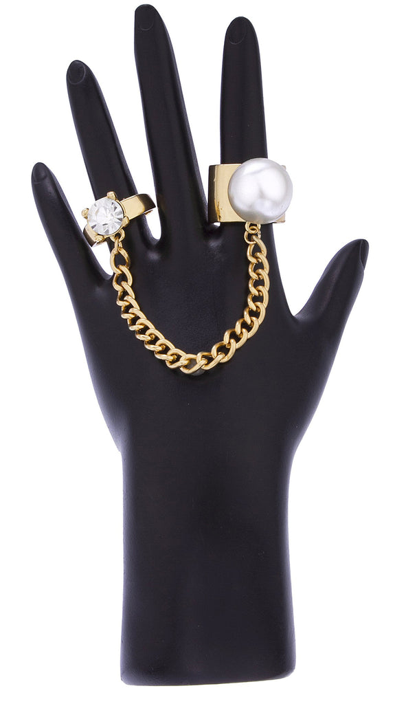Goldtone Simulated Pearl Ring Finger Ring...