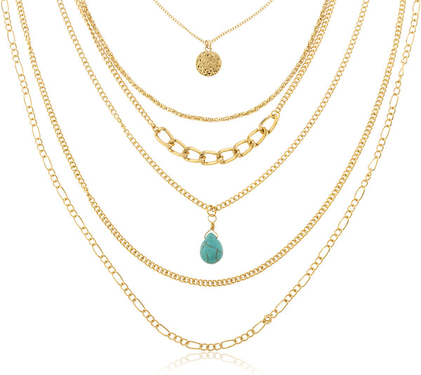 Goldtone Six Layer Multi Chains With Dangling Charms Necklace Matching Jewelry Set