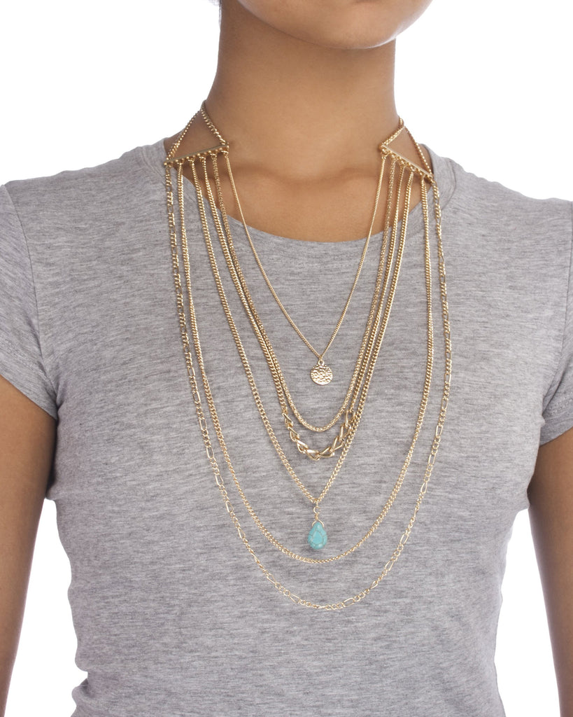 Goldtone Six Layer Multi Chains With...
