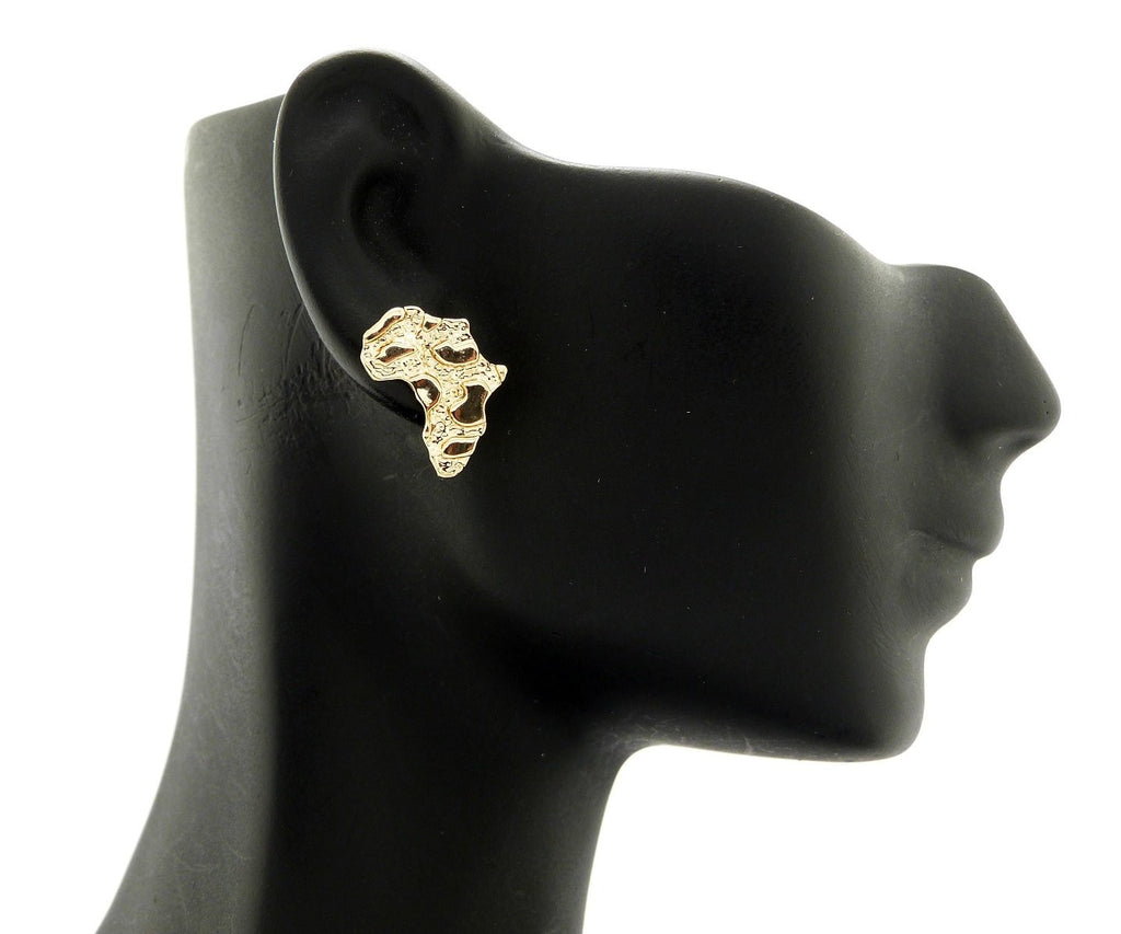 Goldtone Small Africa Nugget Stud Earrings...