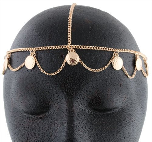 Goldtone Small Discs Head Chain
