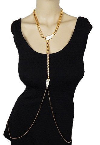 Goldtone Snake Body Chain With Clear...