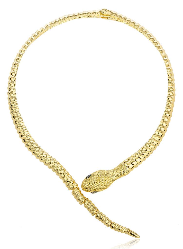 Goldtone Snake With Grey Eyes Curved...