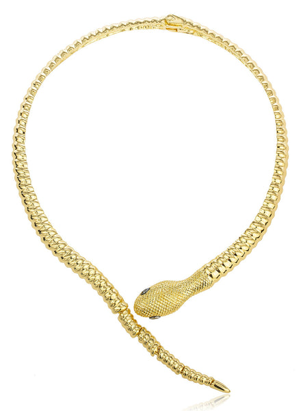 Goldtone Snake With Grey Eyes Curved Bar Design Adjustable Neck Collar Choker Necklace