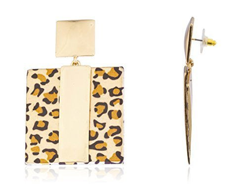 Goldtone Square Leopard Print Earrings