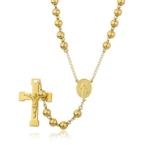Goldtone Stainless Steel Jesus Cross With Mother Mary Charm And 8mm 34 Inch Rosary Chain