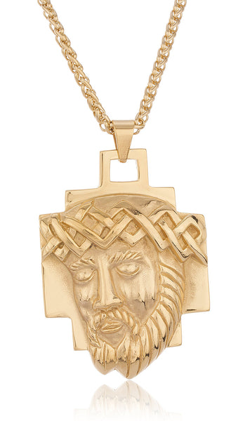 Goldtone Stainless Steel Jesus With Crown Pendant With A 24 Inch Wheat Chain Necklace