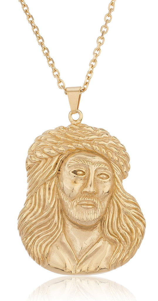 Goldtone Stainless Steel Large Jesus Face...