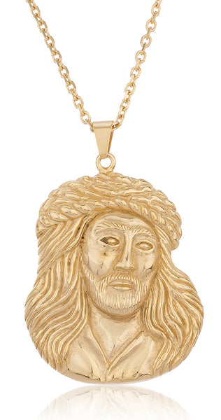 Goldtone Stainless Steel Large Jesus Face Pendant With A 24 Inch Rolo Chain Necklace
