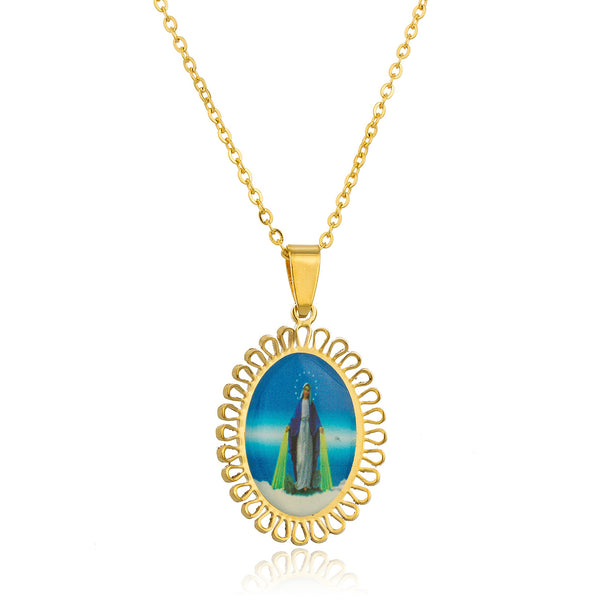 Goldtone Stainless Steel 'Our Heavenly Father' Pendant With An Adjustable 18 Inch Necklace