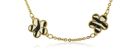 Goldtone Stainless Steel Zebra Print Flower Charm 10 Inch Adjustable Anklet