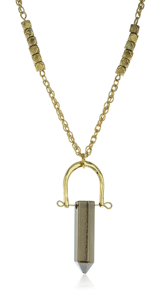 Goldtone Stone Necklace With Harp-Style Pendant...