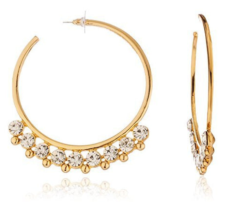 Goldtone Stud Hoops With Large Rhinestones