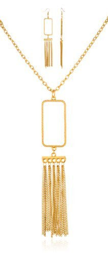 Goldtone Tassael Pendant With Matching Earrings...
