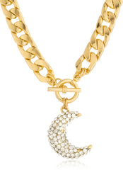 Goldtone Thick Chain With Iced Out Cresent Moon Charm Toggle Closer