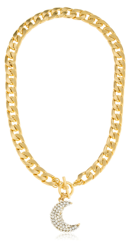 Goldtone Thick Chain With Iced Out...