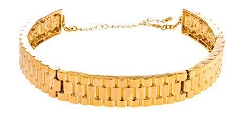 Goldtone Thick Designer Inspired Adjustable Choker Necklace
