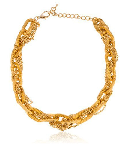 Goldtone Thick Link Chain With Wrapped Thin Links Necklace