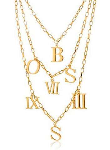 Goldtone Three Layered Boss And Roman Numerals Link Adjustable Necklace